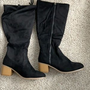 Black micro suede zip up boots